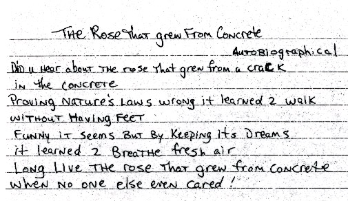tupac poems  the rose that grew from concrete